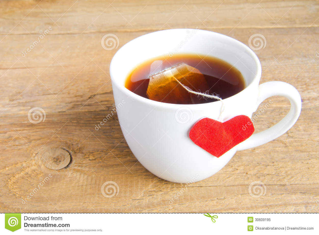 Cup Of Tea With Red Heart Royalty Free Stock Photo Image