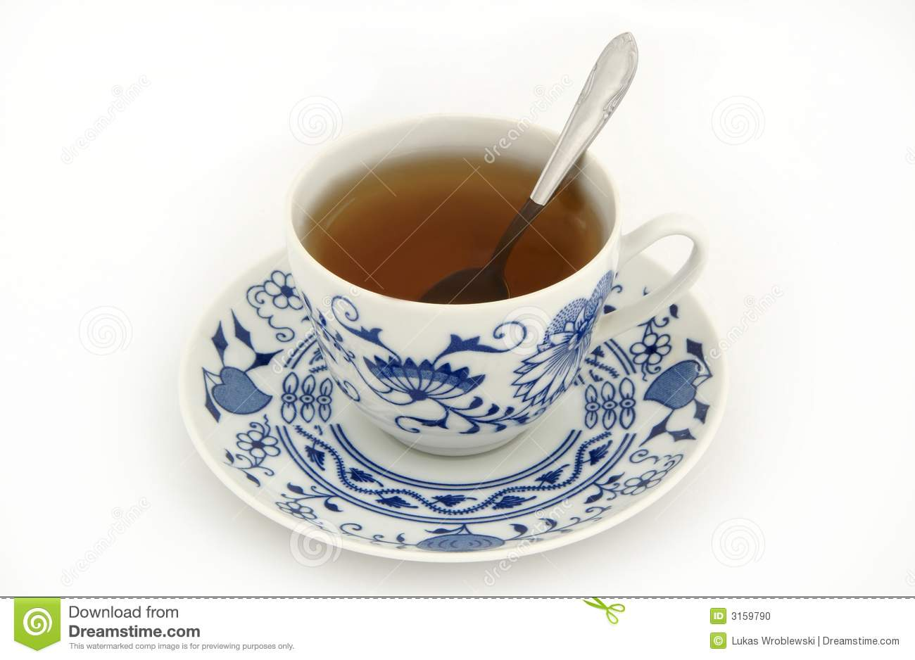 Cup Of Tea With Spoon Stock Photo Image 3159790