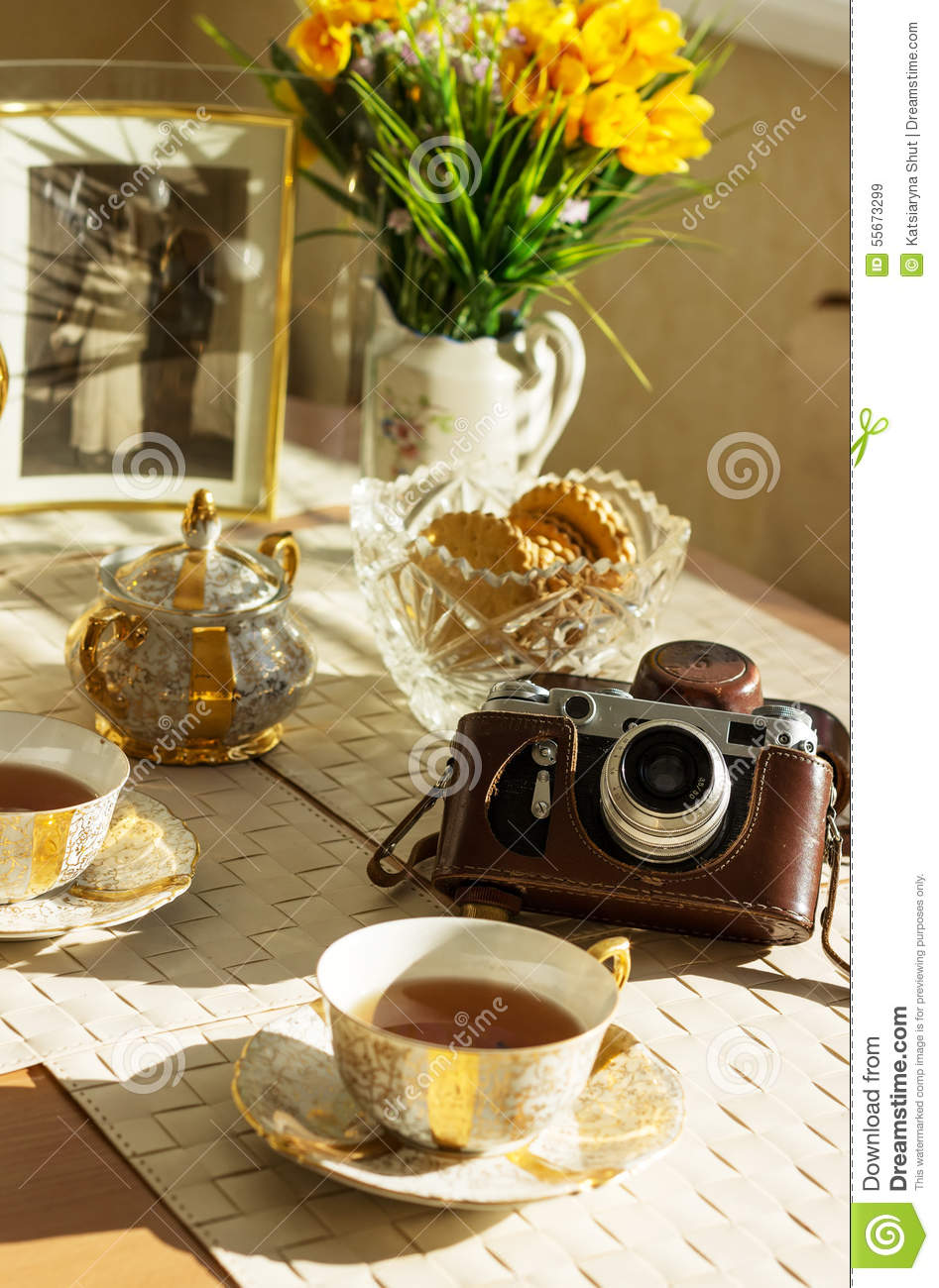Cup Of Tea Summer Yellow Flowers Old Foto And Vintage