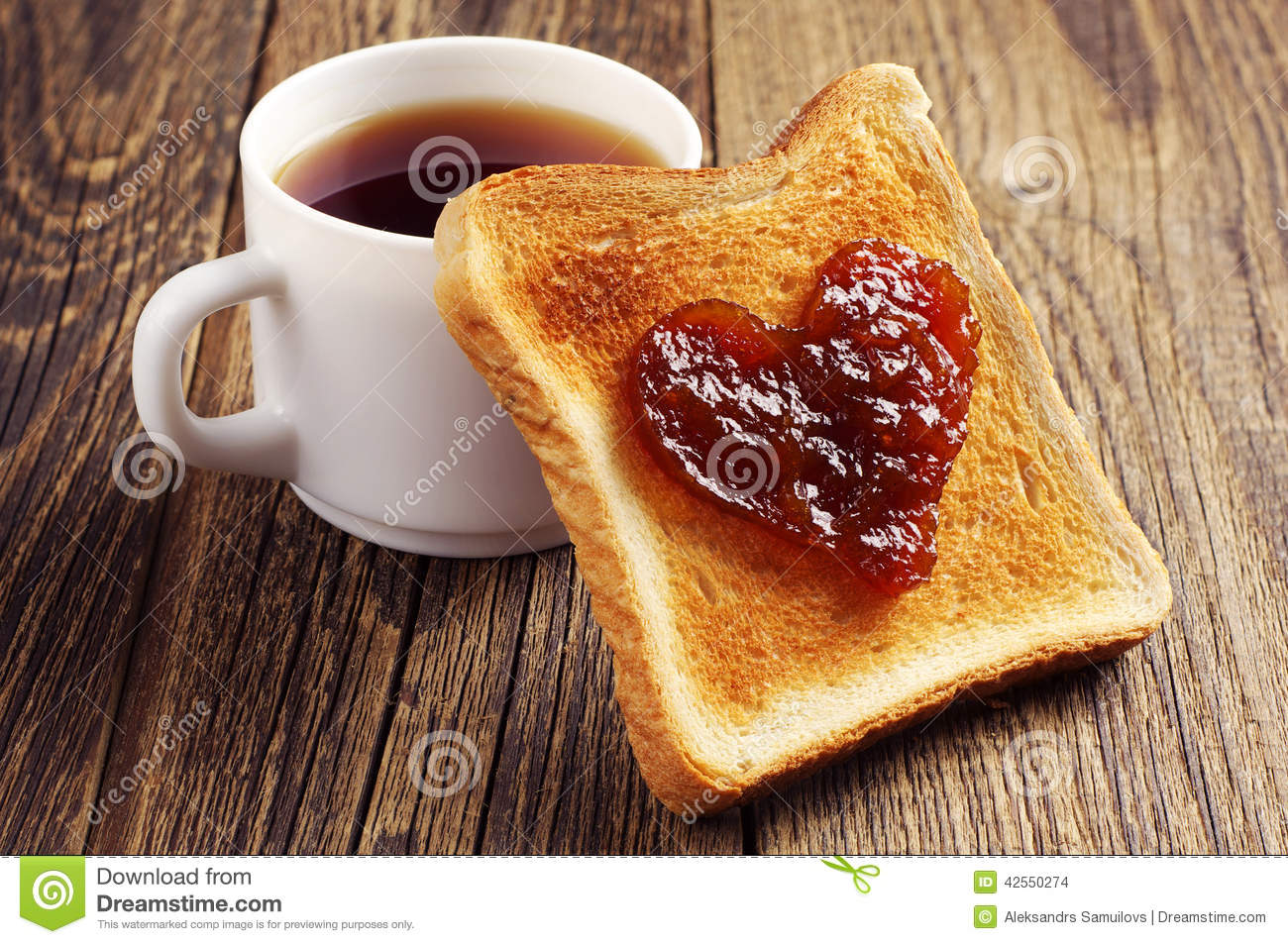 Cup Of Tea And Toast Bread With Jam Stock Photo - Image: 42550274