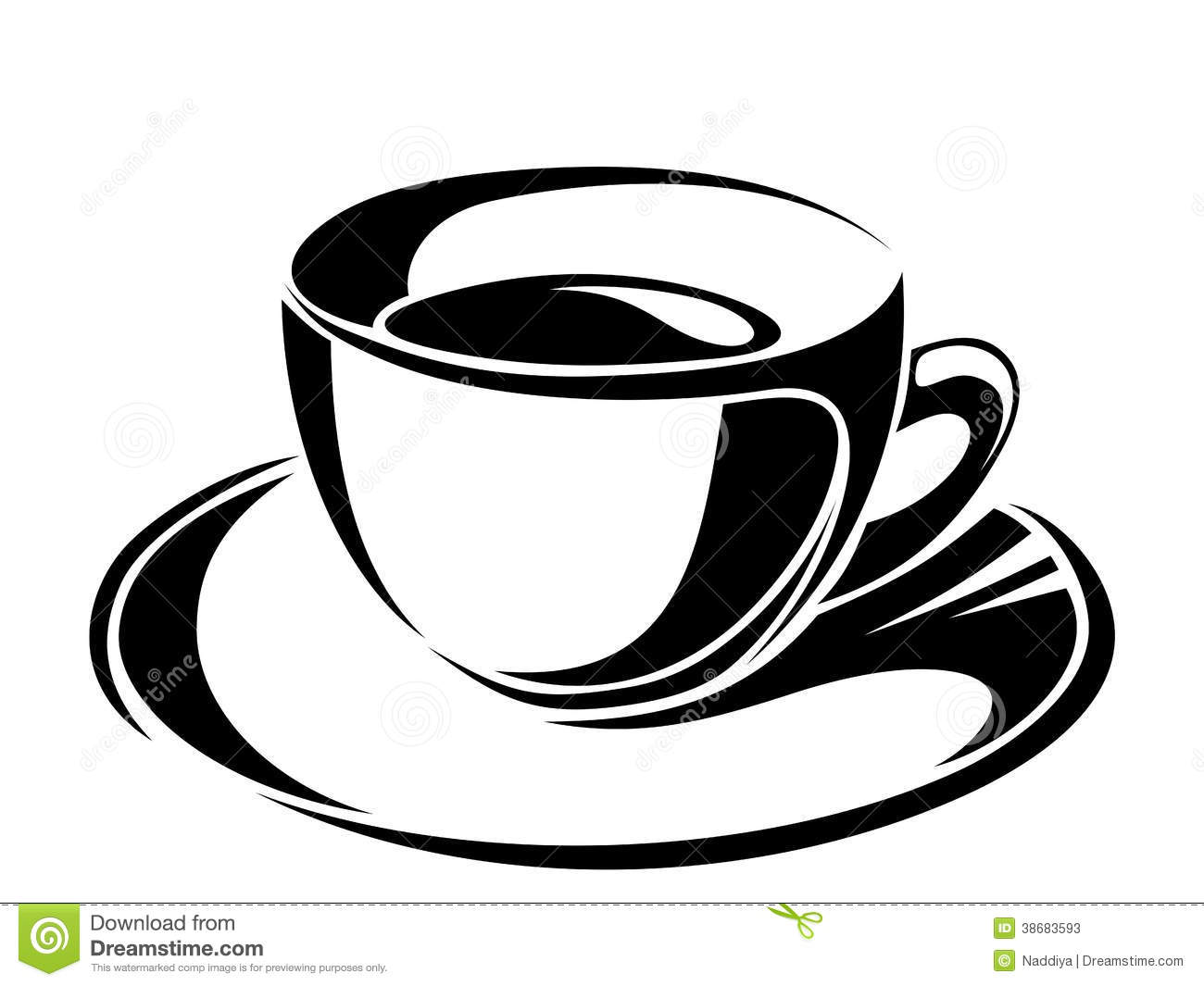 Cup Of Tea. Vector Black Silhouettes. Stock Vector ...