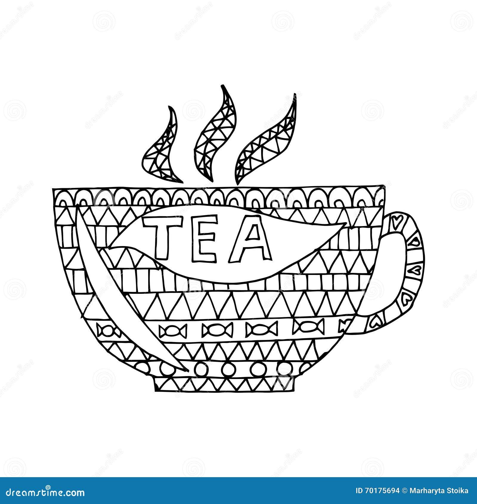 cup of tea vector cup of tea zen tangle zen doodle cup of tea