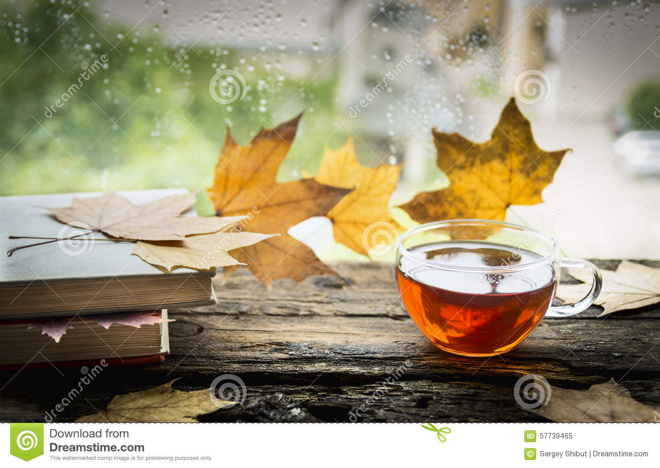Cup Of Tea On A Wooden Rain Window Sill With Books And