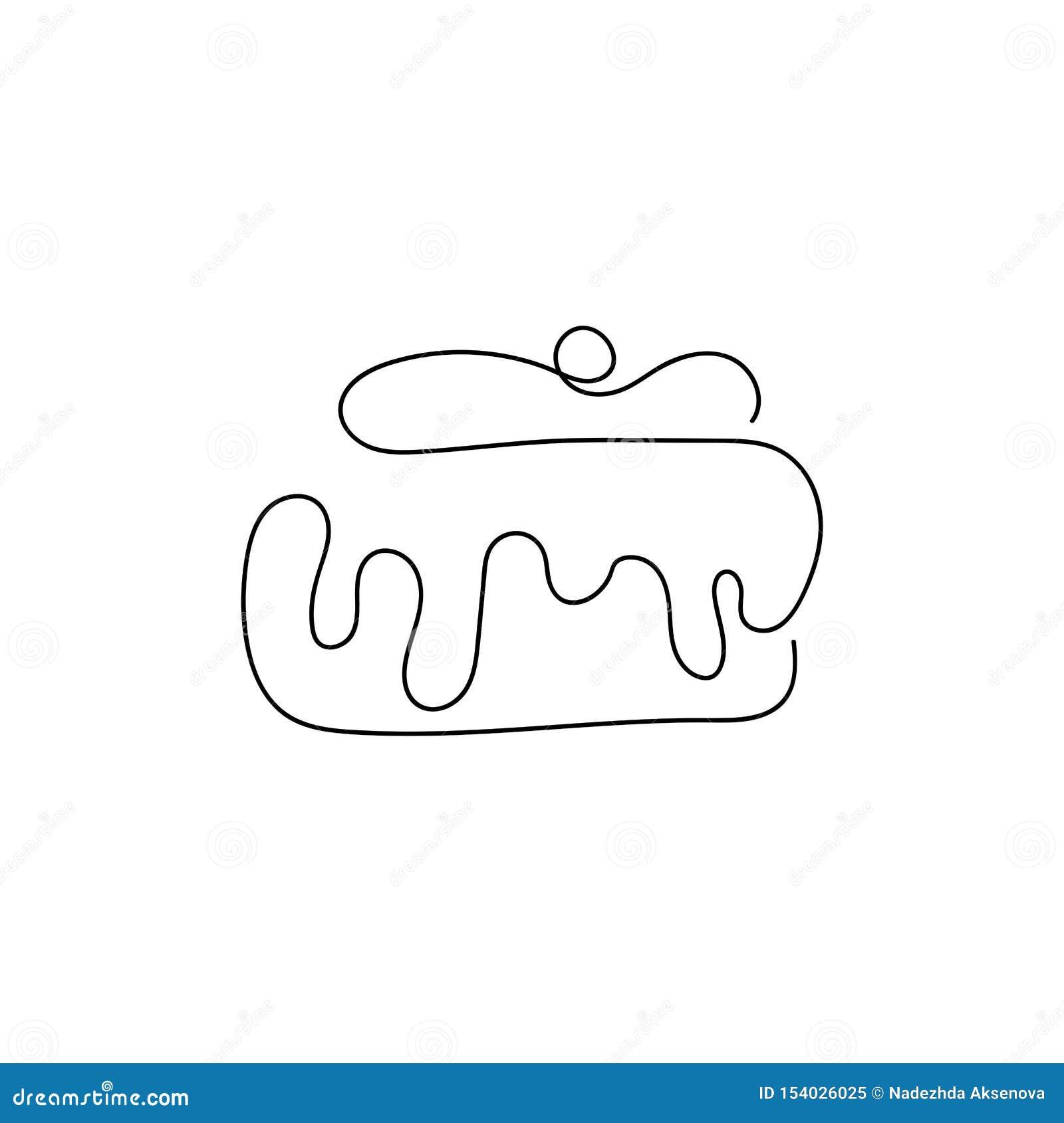 Cupcake με το κεράσι και την κρέμα Συρμένος από μια ενιαία γραμμή