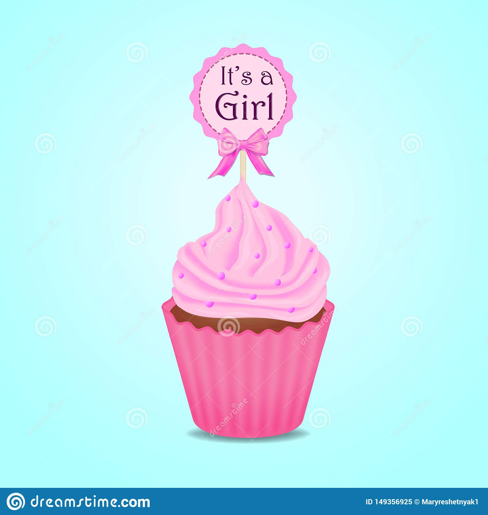 Cupcake, baby shower invitation, girl, card