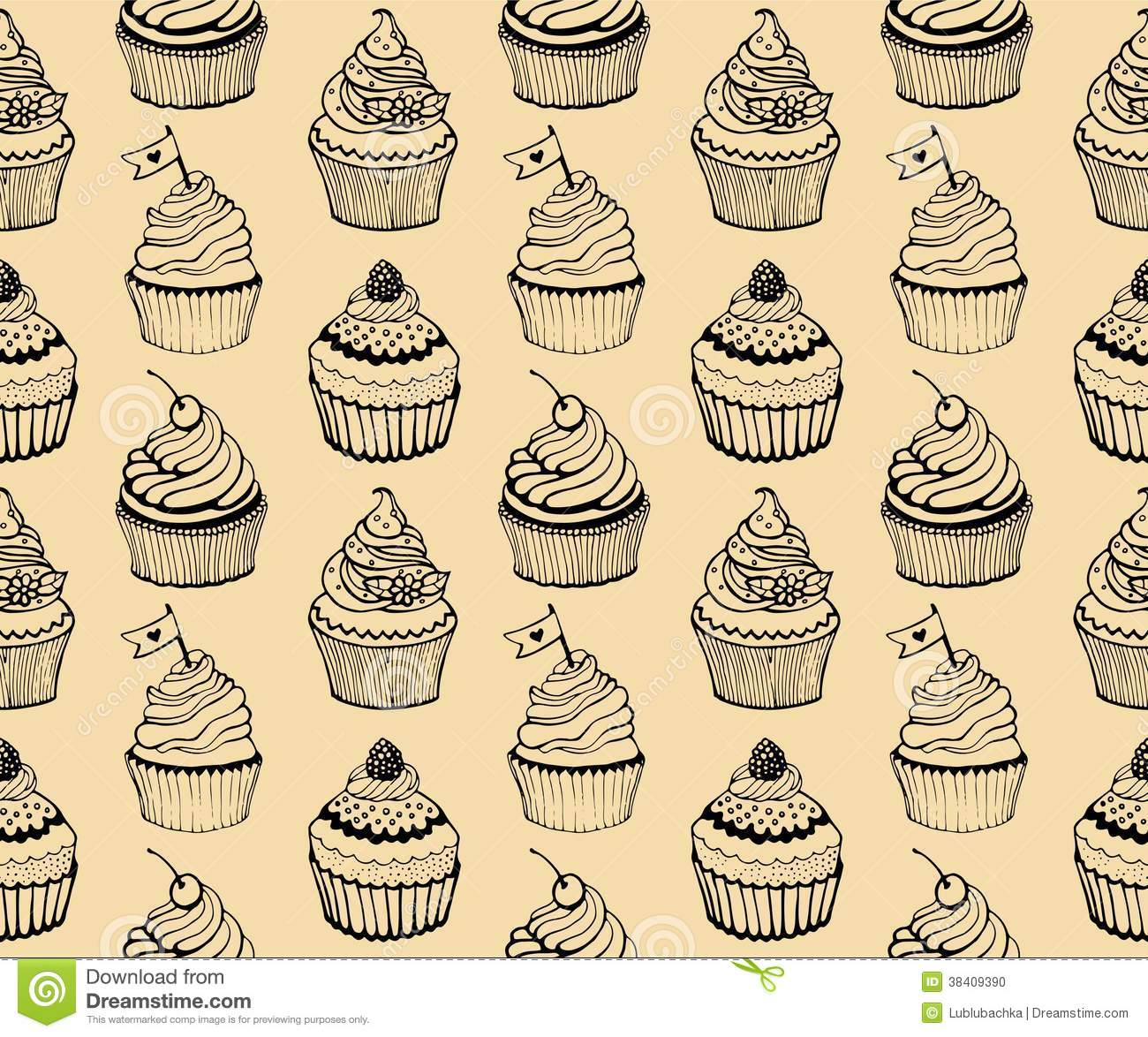 Cupcake Baking Seamless Hand Drawn Pattern On The Beige Background
