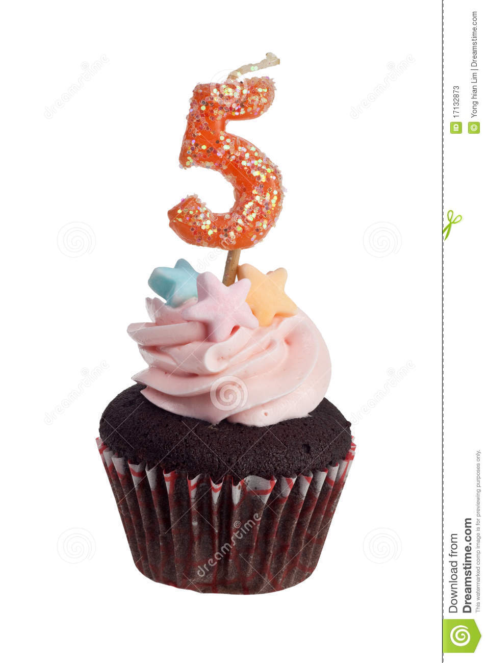 Cupcake With Birthday Candle For Five Year Old Stock