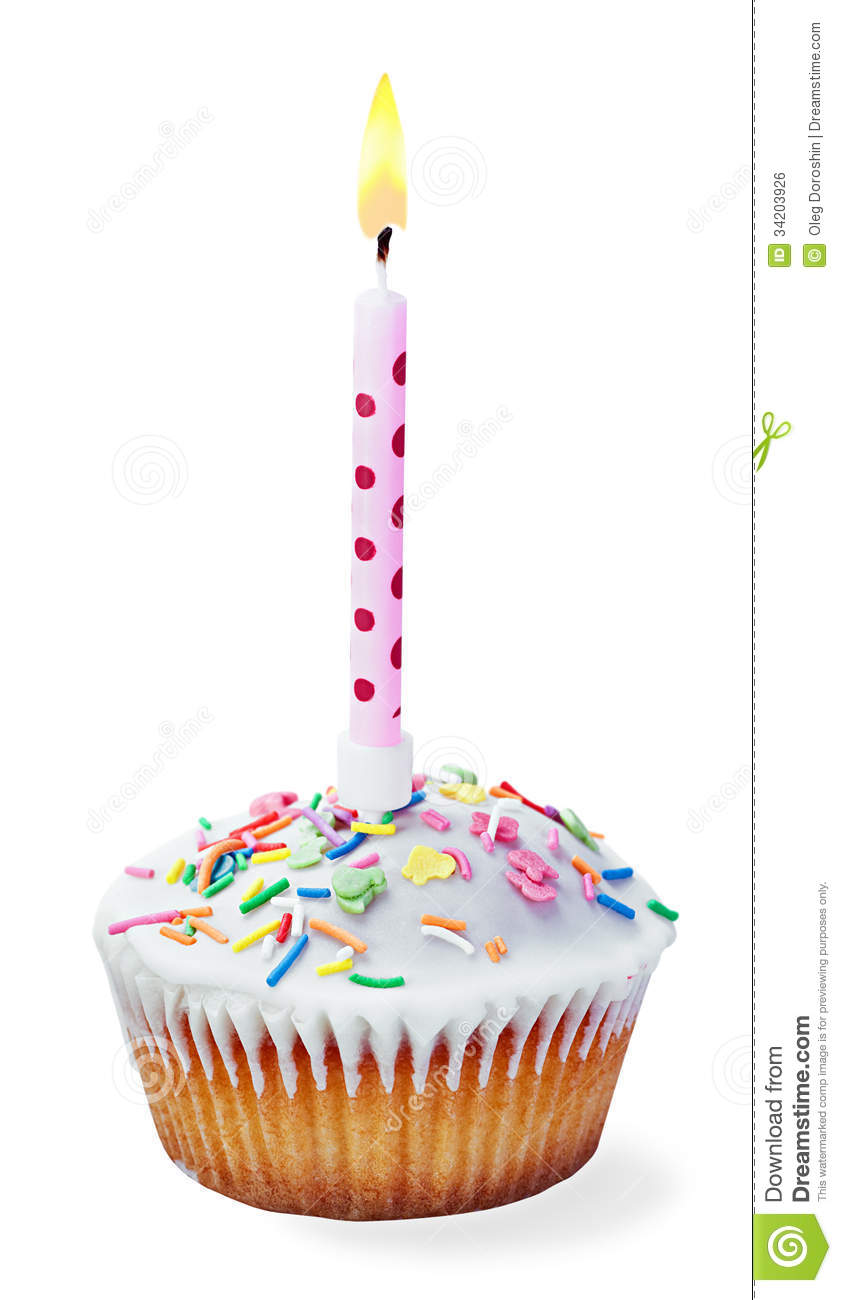 Cupcake With A Birthday Candle Stock Photo - Image: 34203926