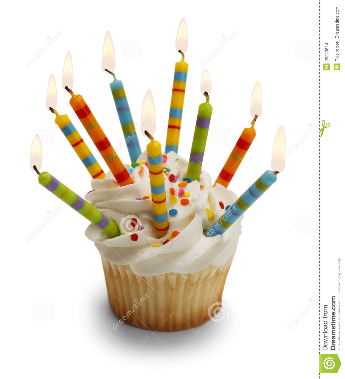 Cupcake with Lots of Candles Isolated on White Background.