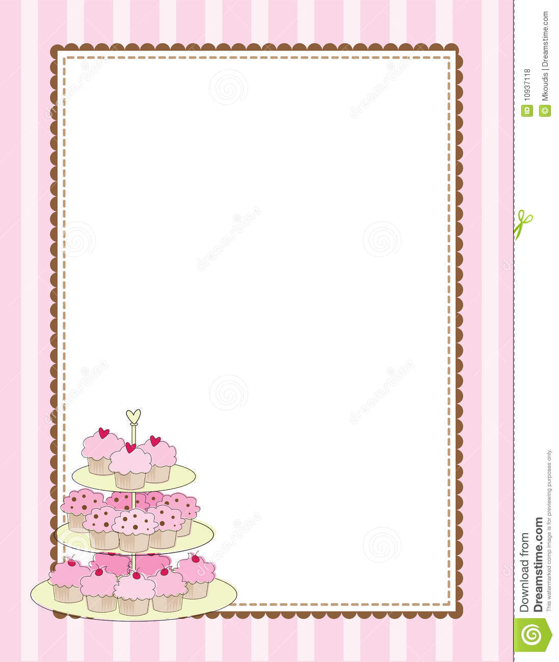 Cupcake Border Pink Stock Vector Illustration Of Pastry
