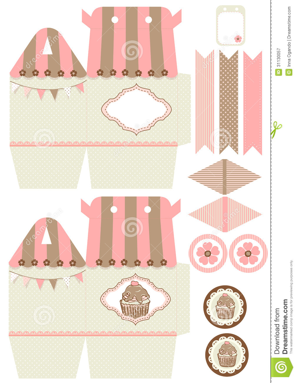 Cupcake Box Template Download Preview