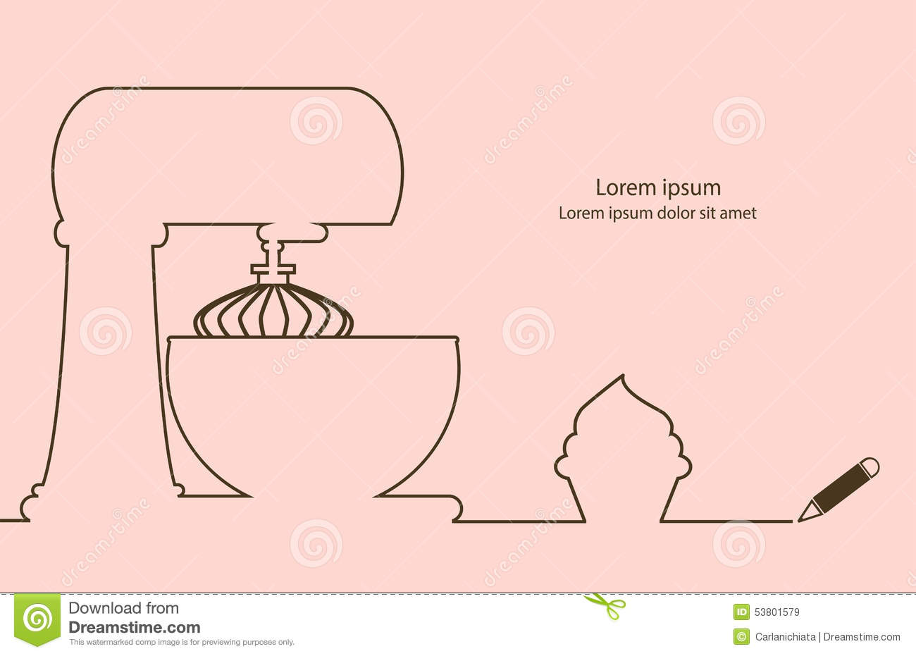 Simple Elegant Line Art : Cupcake business stock vector image of outline chocolate