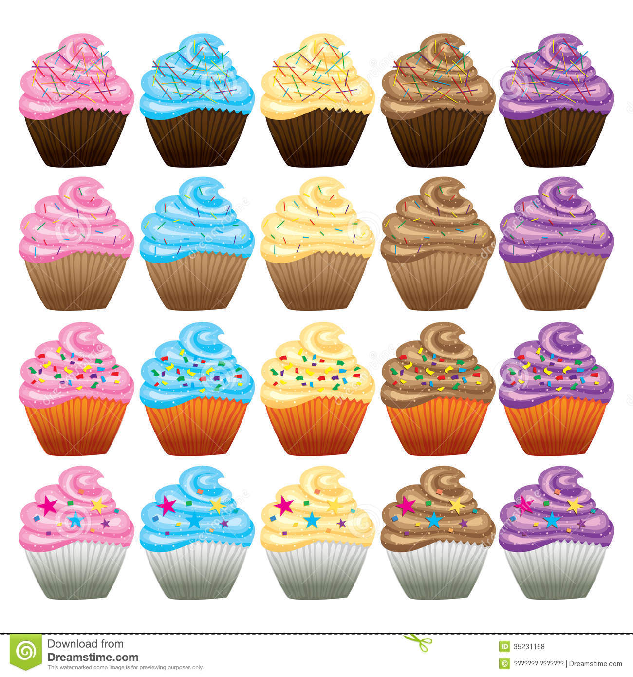 Cupcake With Butter Cream Vector Stock Vector Illustration Of