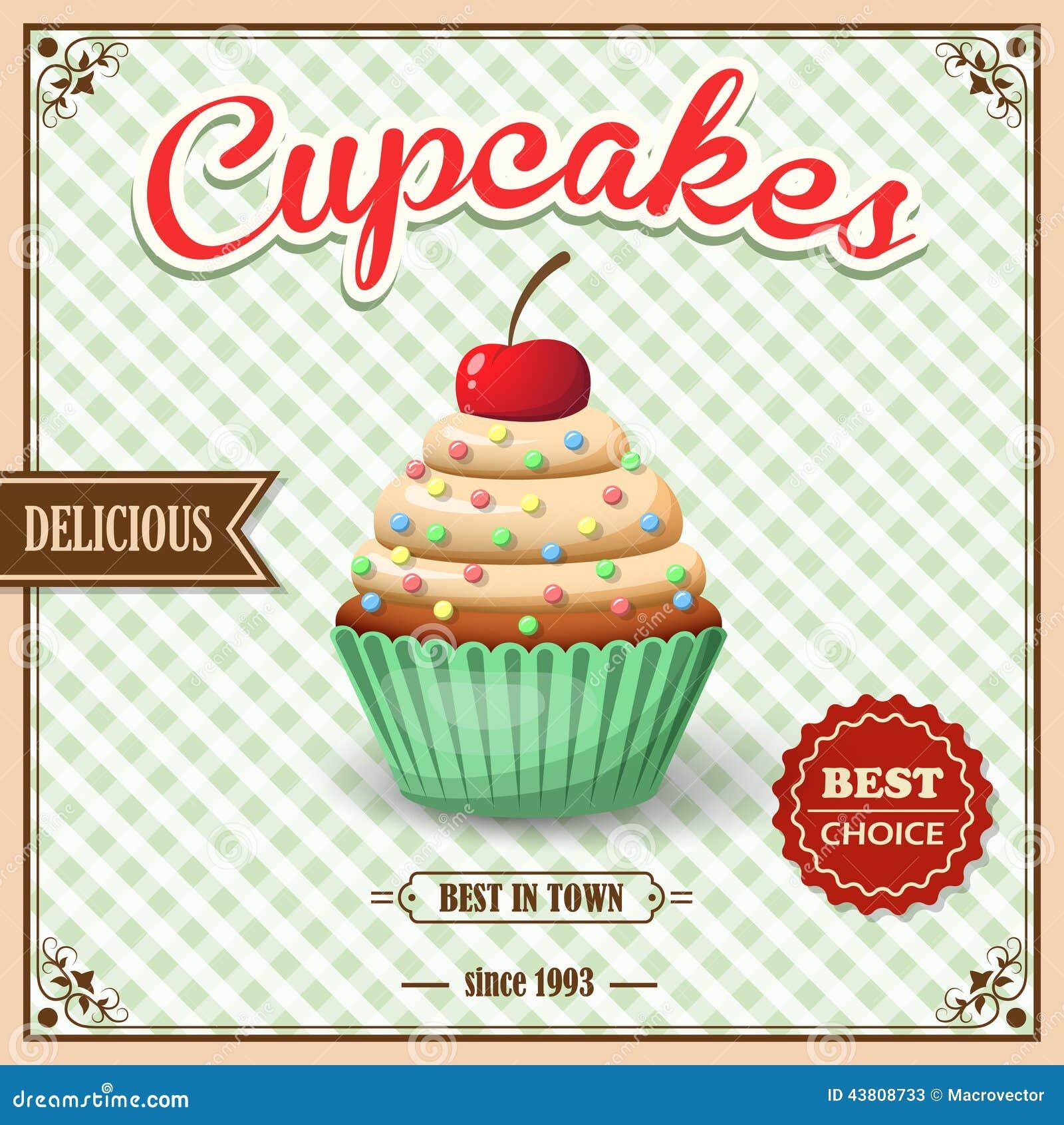 Cupcake Retro Poster Stock Vector - Image: 41817165