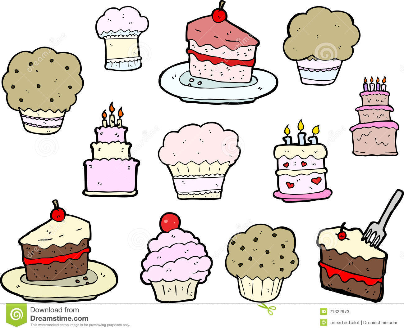 Line Drawing Cake : Cupcake and cake drawings stock illustration