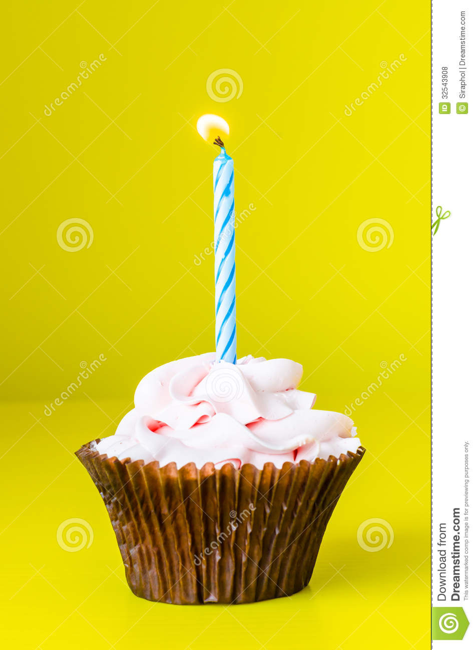 cupcake with candle royalty free stock photos image