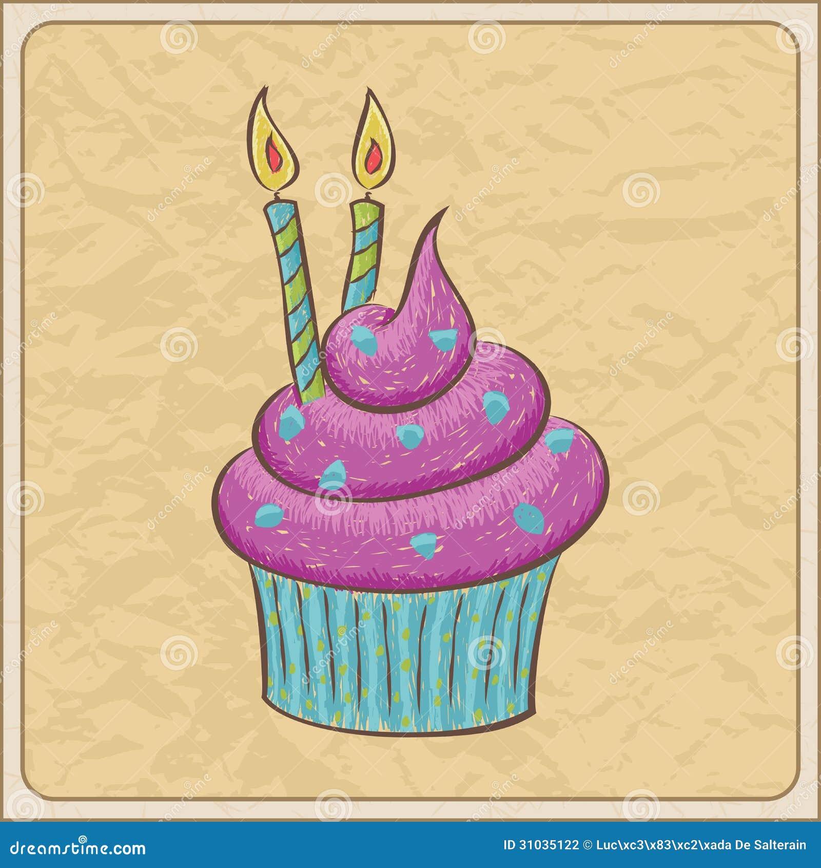Hand Drawn Birthday Cake Vector Illustration Stock Photo Royalty