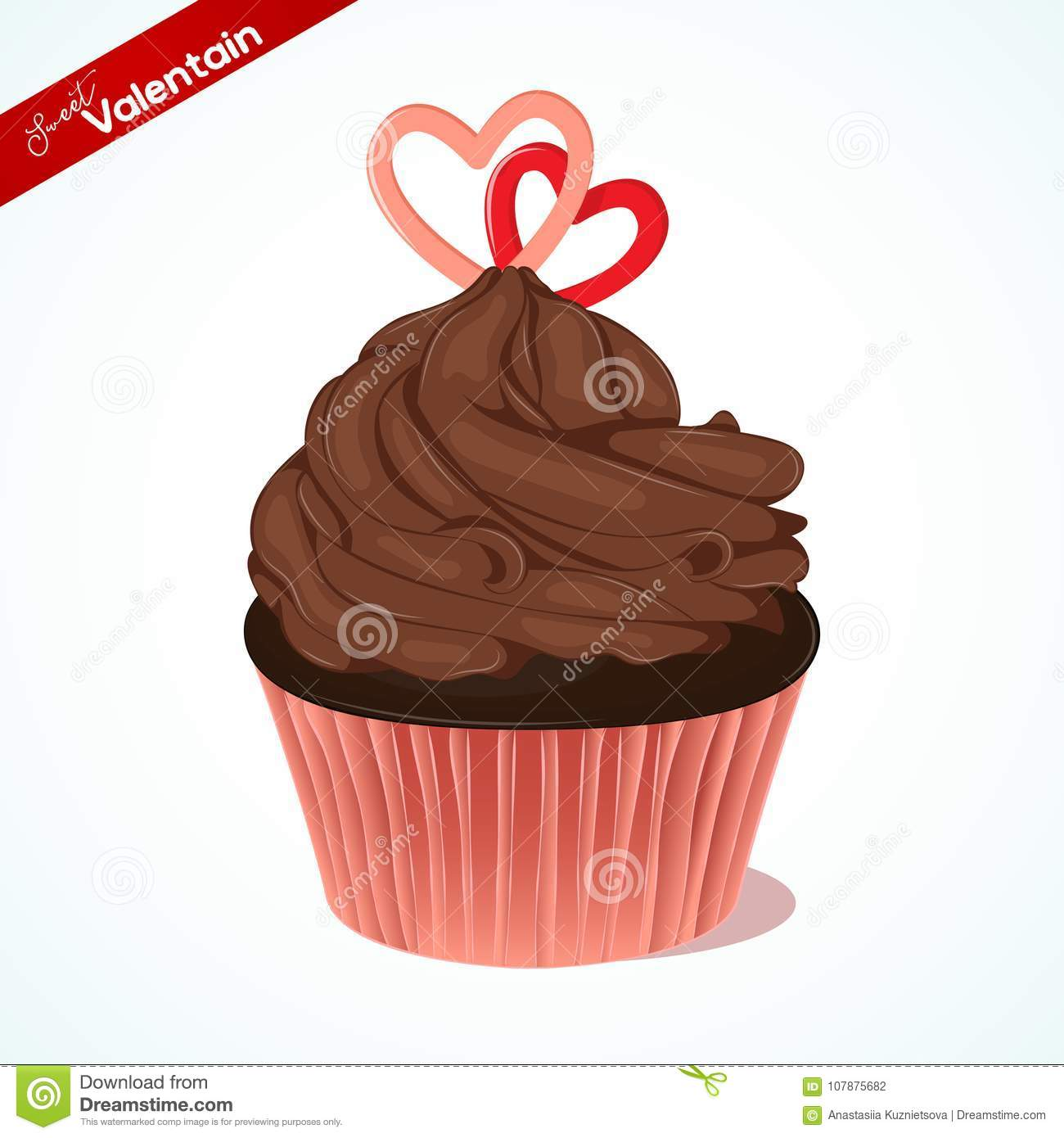 Cupcake With Chocolate Cream And Sugar Hearts For Valentines