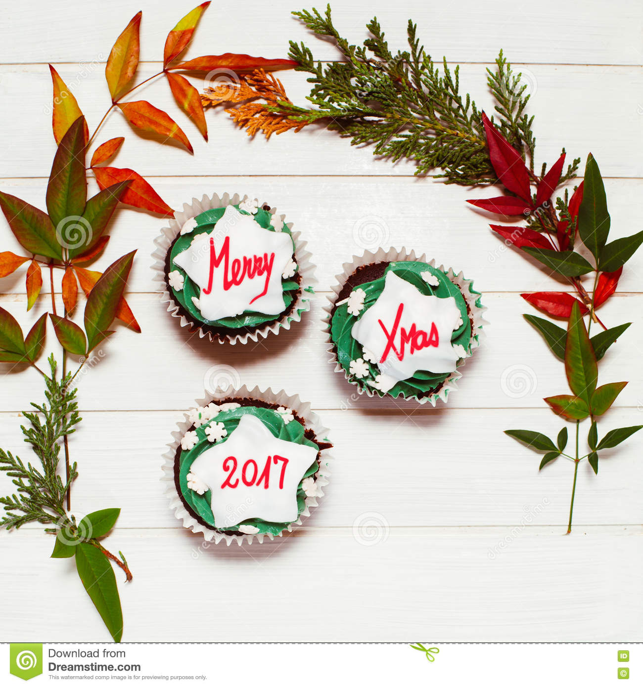 Cupcake With Christmas Massage Stock Photo - Image of branch ...