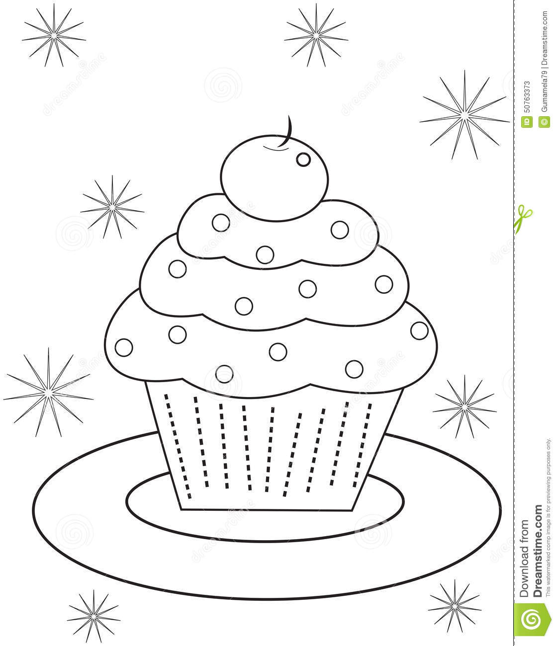 cupcake coloring page stock illustration image 50763373