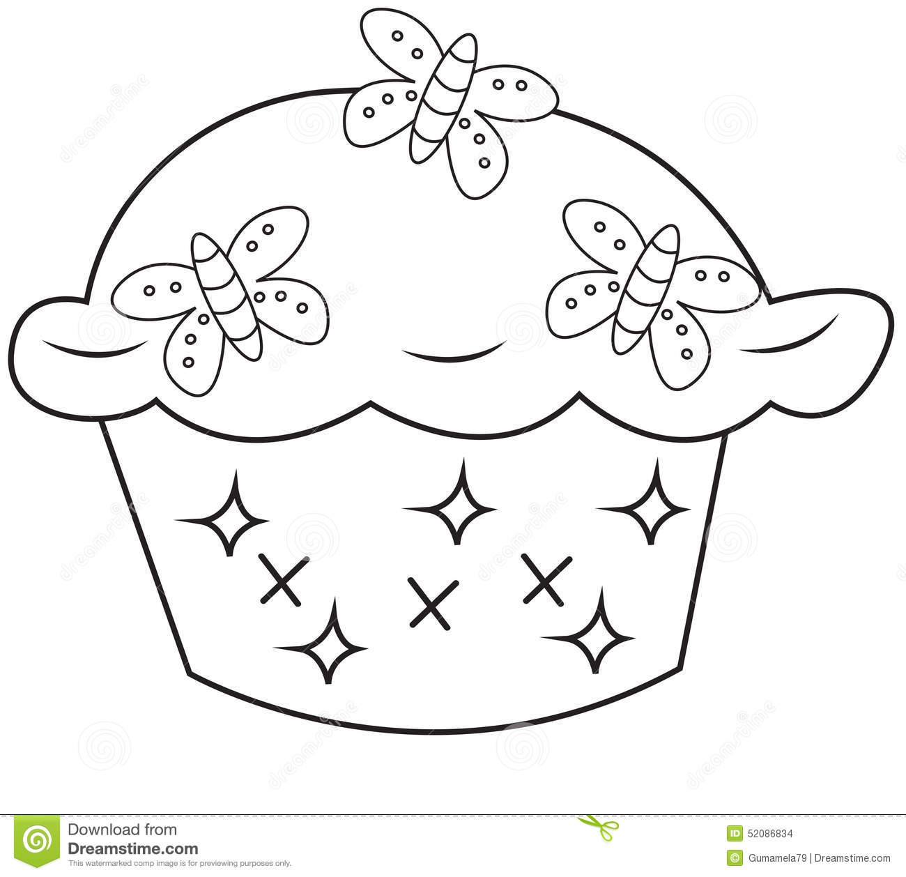 Cupcake coloring page stock illustration. Illustration of abstract ...