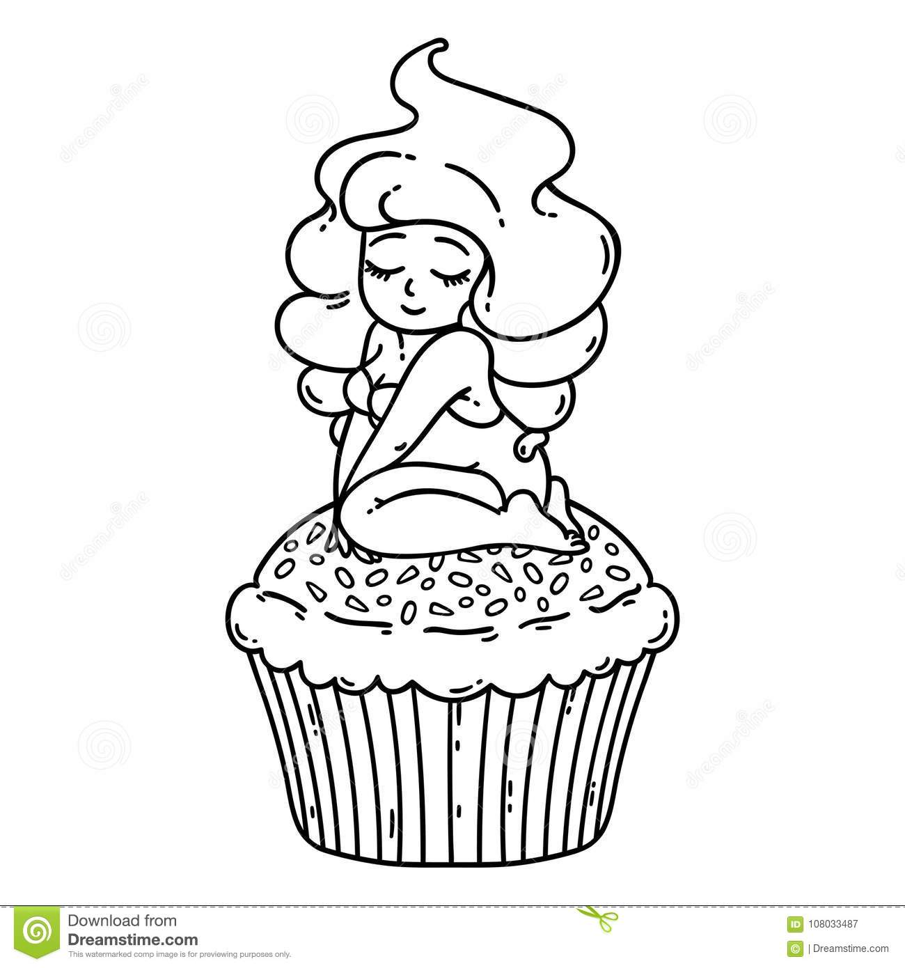 Cupcake cream fairy. Cute girl on cupcake. Isolated objects on white background. Vector illustration. Coloring outline.