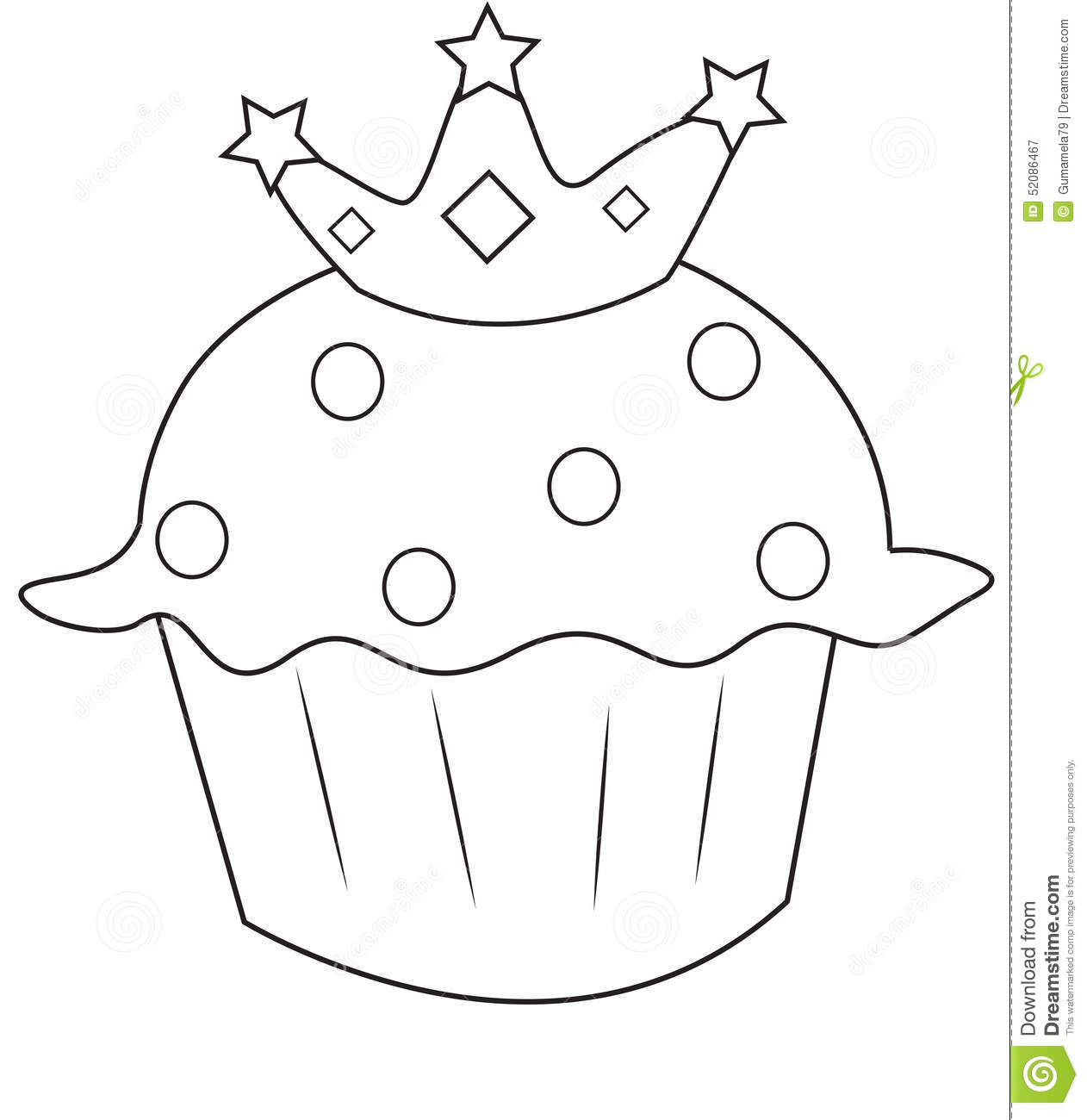 Cupcake With A Crown Coloring Page Stock Illustration