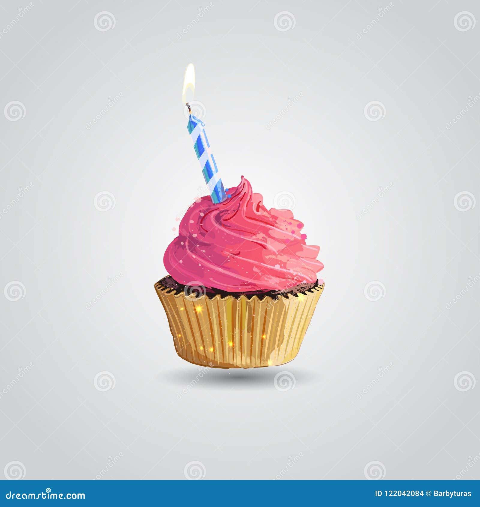 Cupcake Geburtstagskleiner kuchen mit der Kerze lokalisiert