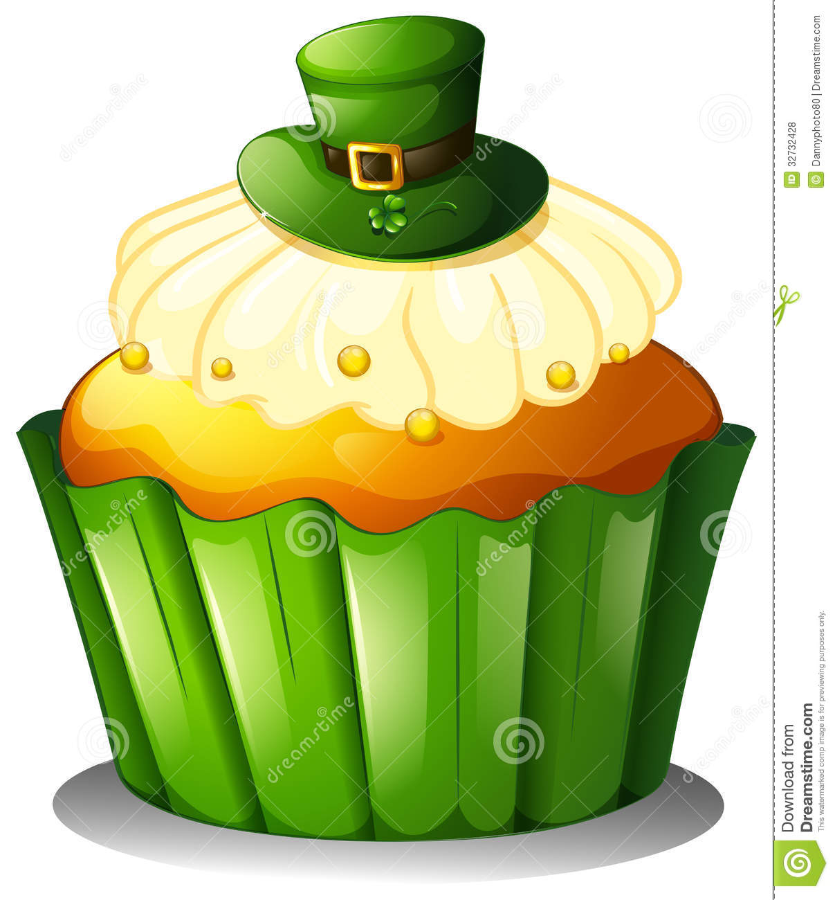 Green Cupcake Clipart Illustration of a cupcake with