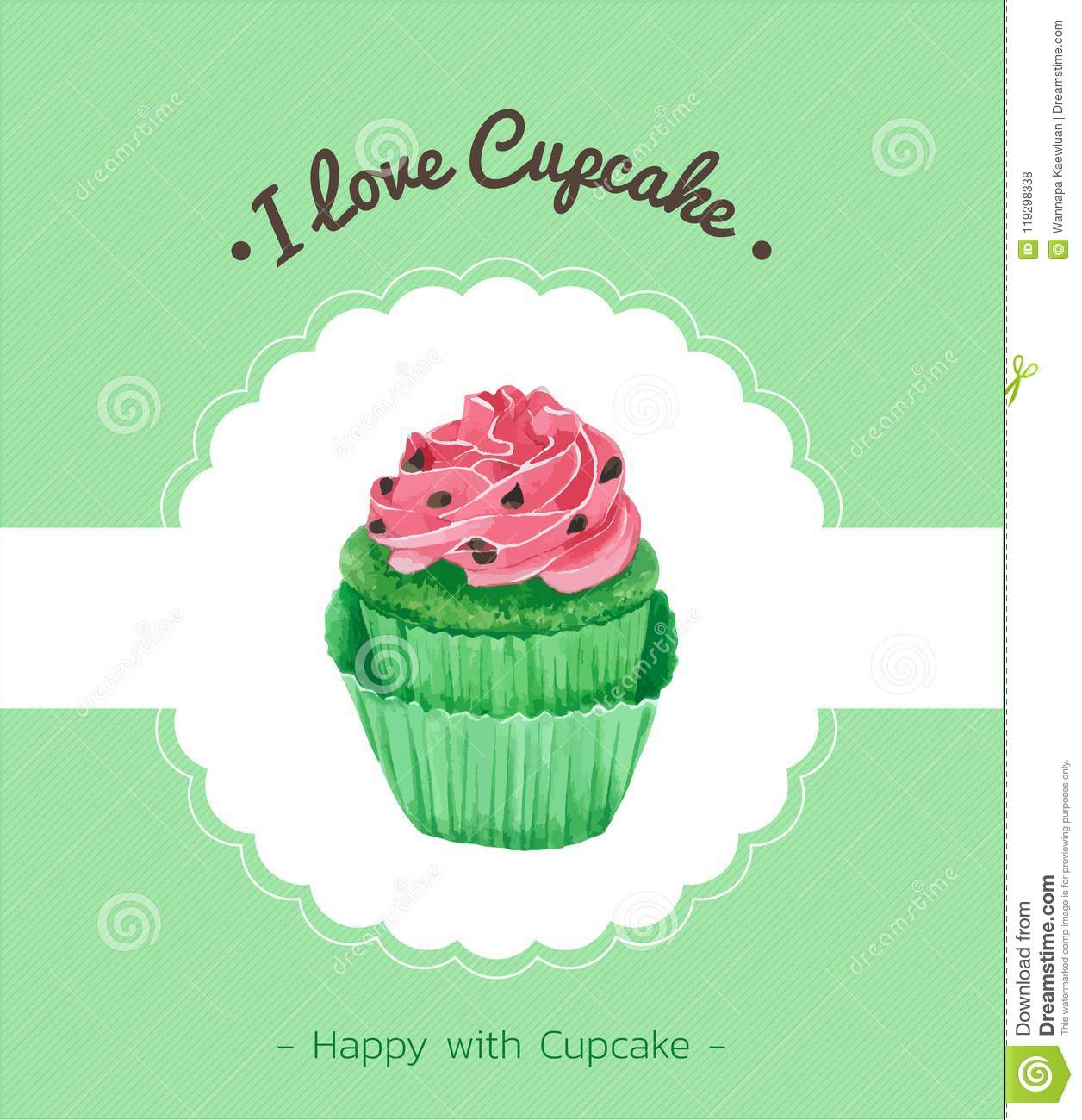 Cupcake Greeting Card Vector Watercolor Style Design For Birthday