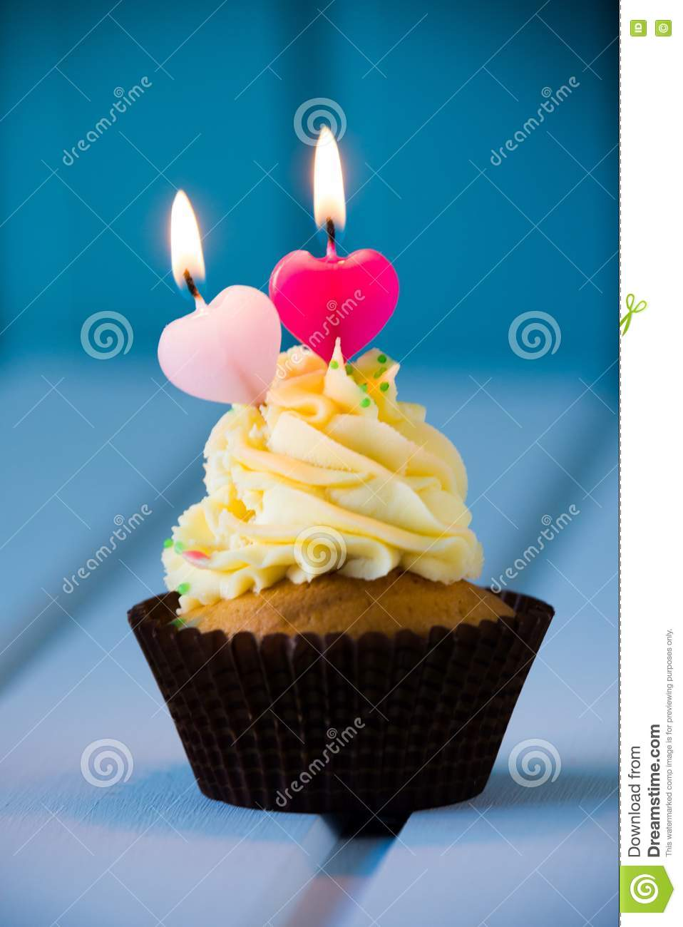 Cupcake With A Heart Shaped Candles For 2 Second