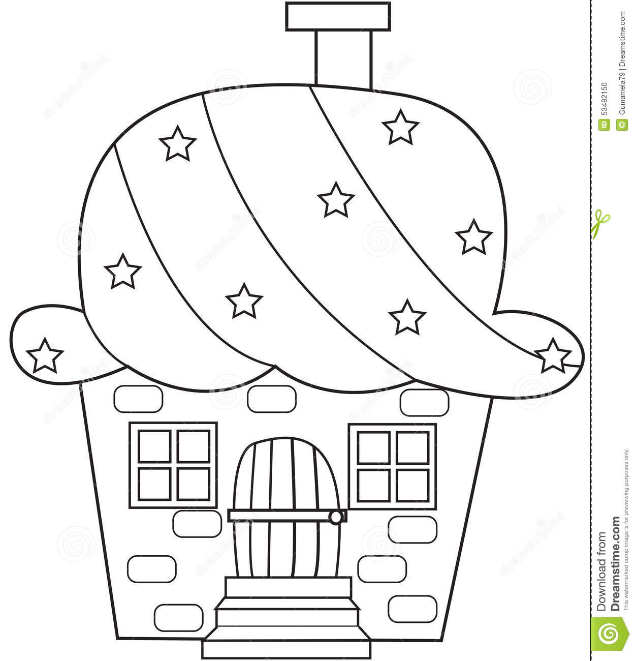 Stock Photo Cupcake House Coloring Page Image 53482150