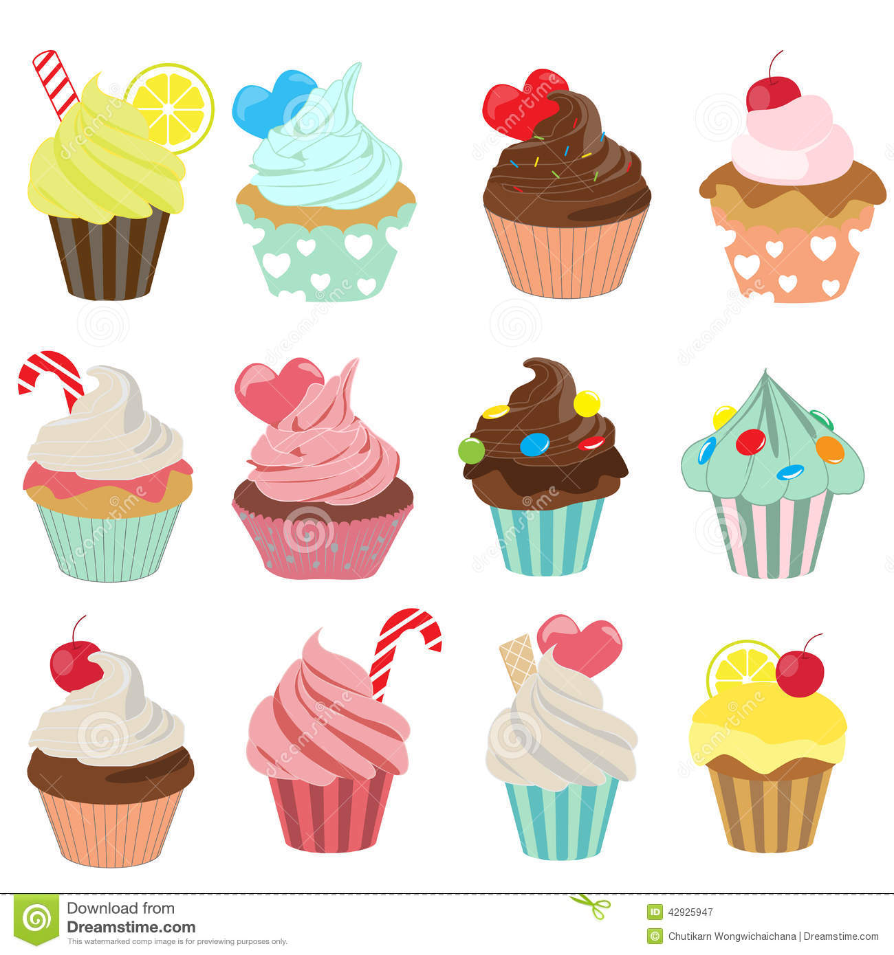 Cupcake Icon Set Stock Vector Illustration Of Fruit