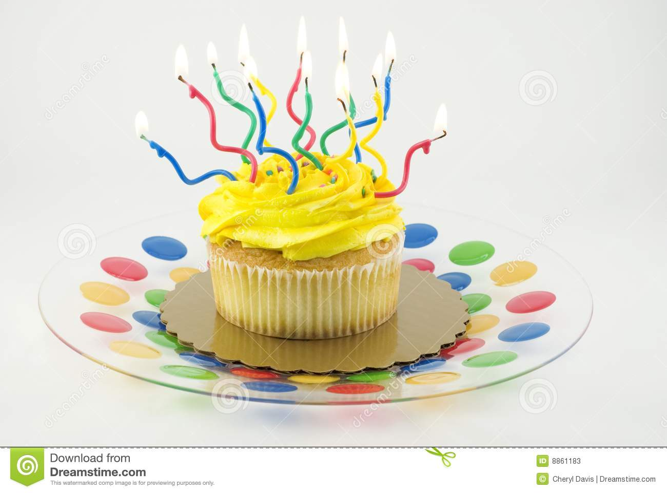 Cupcake With Many Lit Candles Stock Photos Image 8861183