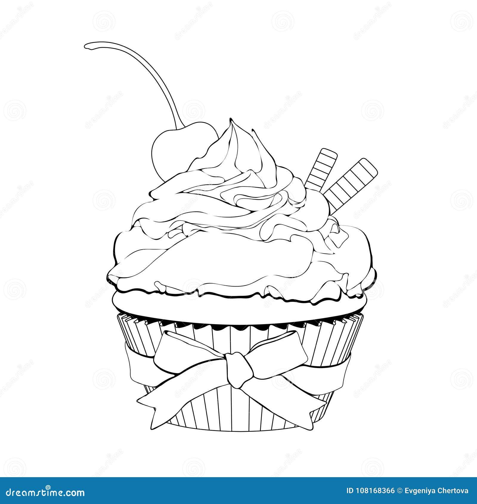 Cupcake met room, met een kers op bovenkant en wafels, vectoroverzichtsillustratie, kleuring, schets, geeft de contouren aan van
