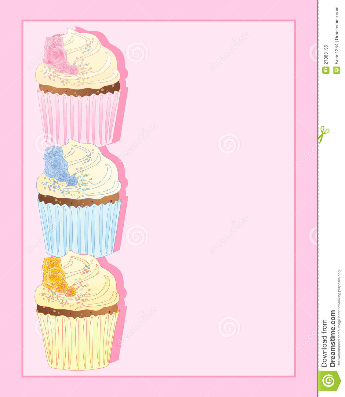Cupcake met roze decoratie vector illustratie illustratie for Decoratie cupcakes