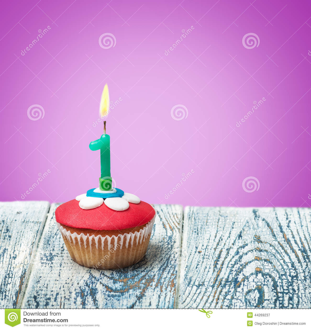 Cupcake With Number One Stock Photo - Image: 44269237