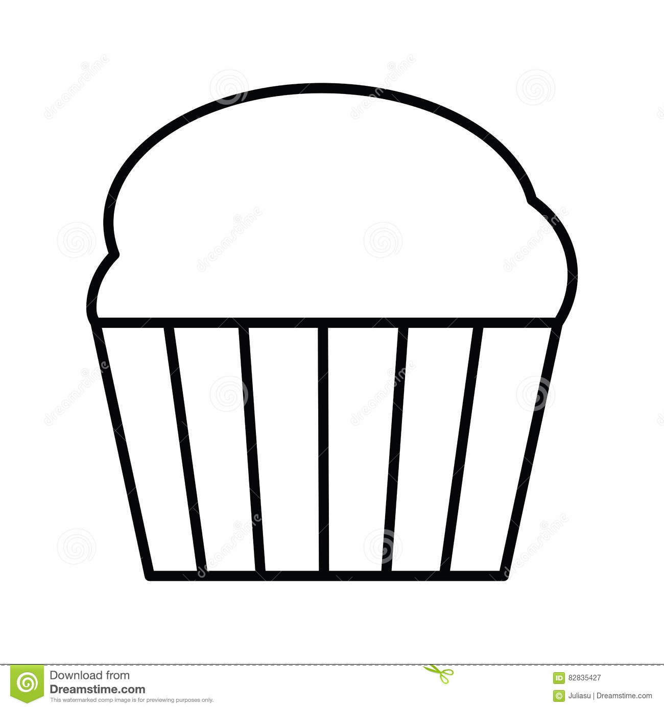 Cupcake Outline Icon Stock Vector Illustration Of Chocolate