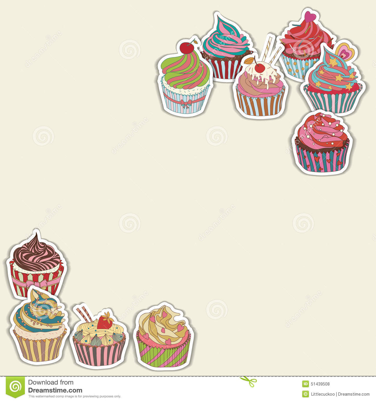 cupcake pattern border stock vector image 51439508