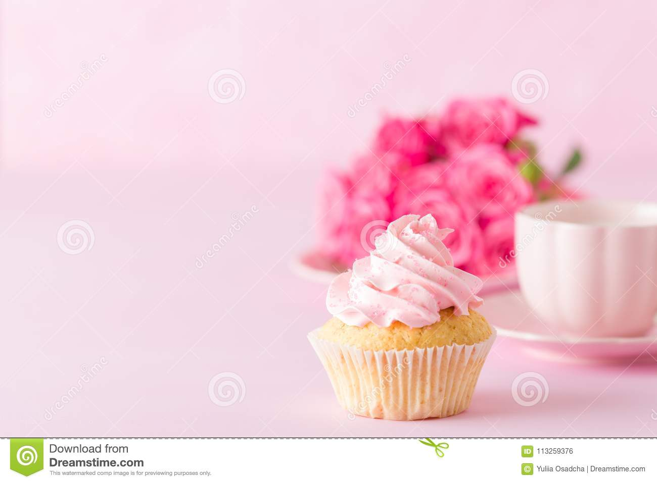 Cupcake with pink cream decoration and roses on pink pastel background stock photo image of - Creme decoration cupcake ...