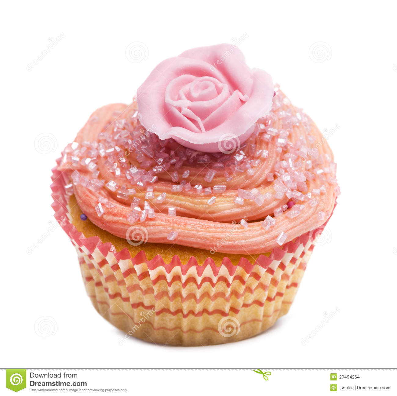 Cupcake With Pink Flower Decoration Against White Background Stock