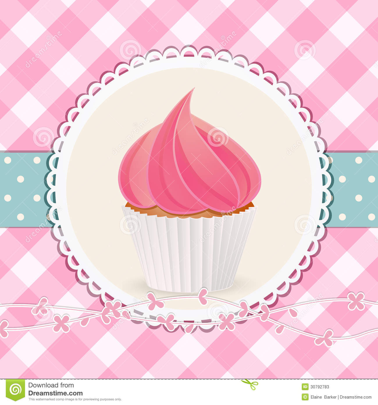 Cupcake with pink icing on pink gingham background
