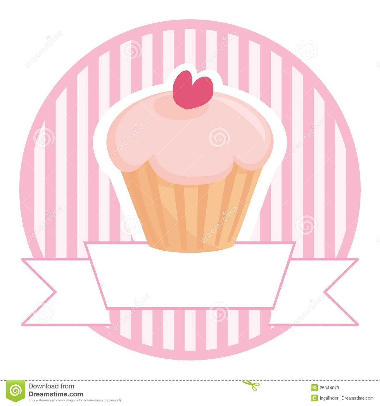 Cupcake In Pink With White Place For Your Text Royalty