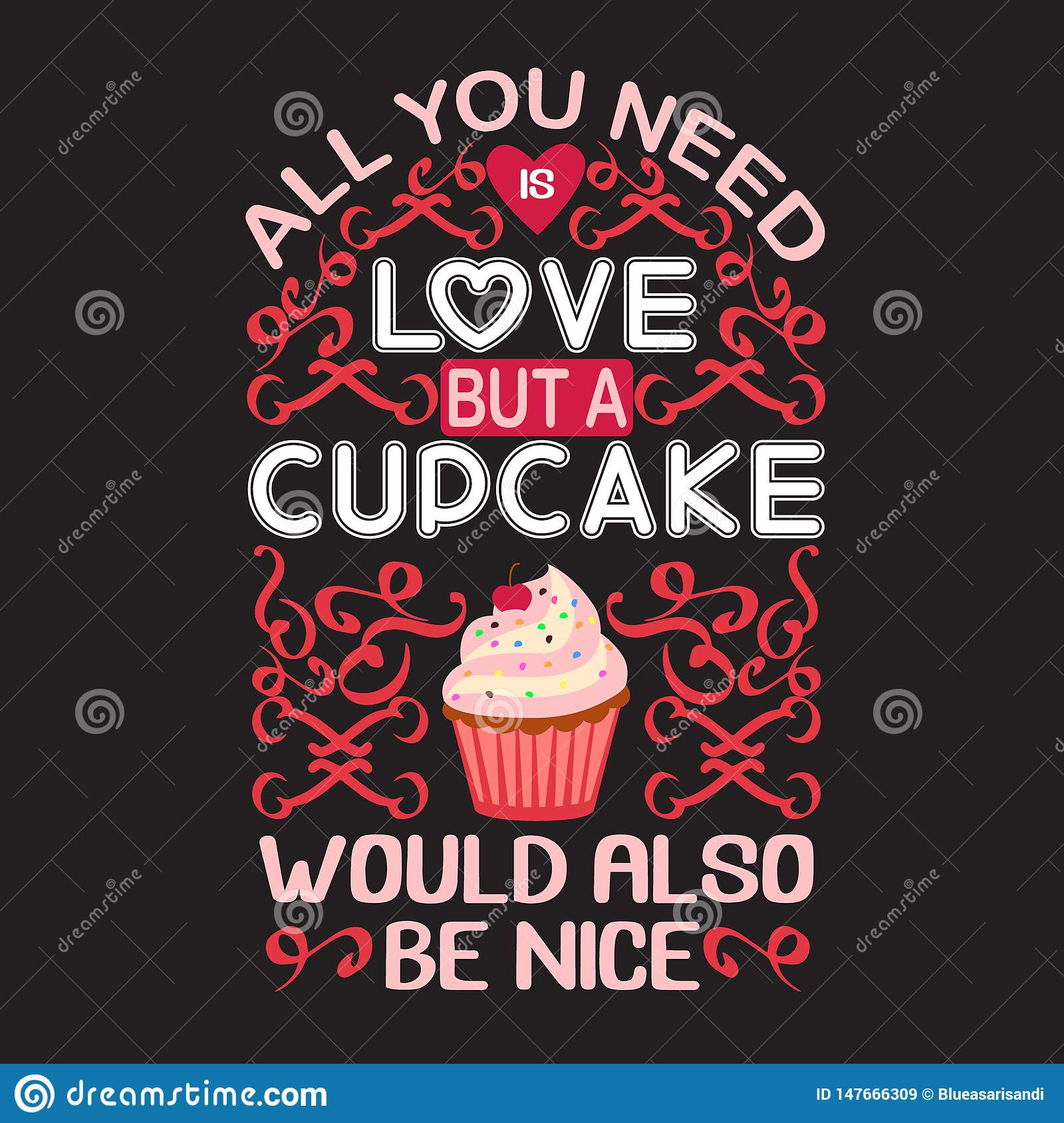 Cupcake Quote And Saying Good For Print Collections Stock Illustration Illustration Of Bakery Healthy 147666309