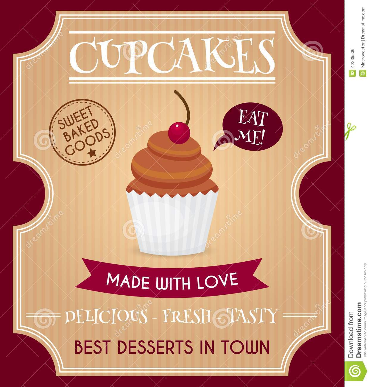 Sweet and tasty delicious food best dessert cupcake retro poster ...