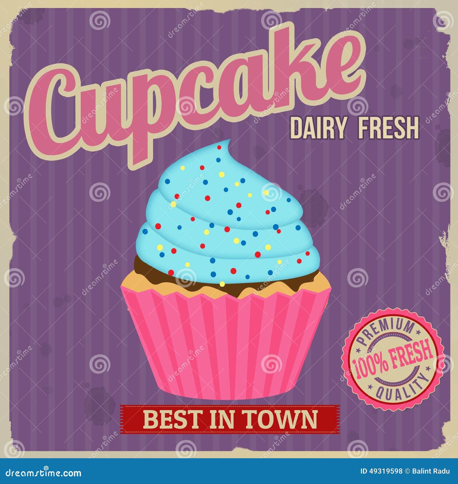 Cupcake retro poster