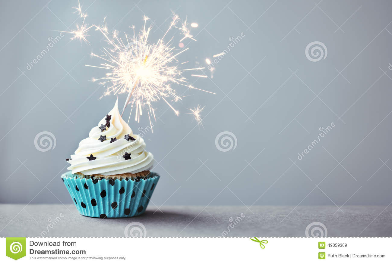 Cupcake With A Sparkler Stock Image Image Of Baking