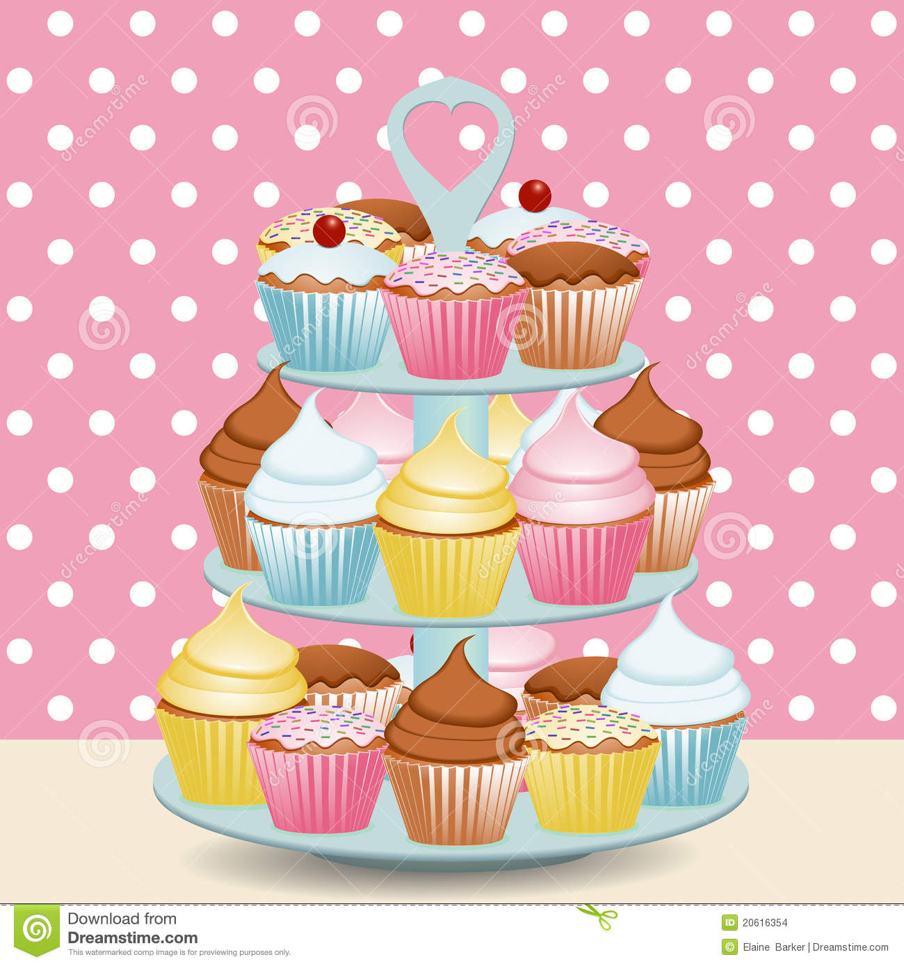 Cupcake Stand Stock Vector Illustration Of Cupcake Decorated