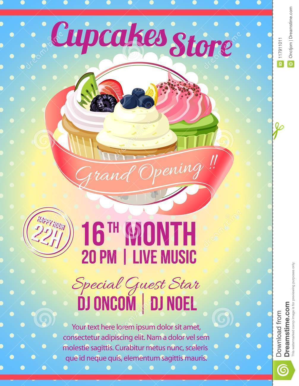 Cupcake Store Grand Opening Poster Template Stock Vector