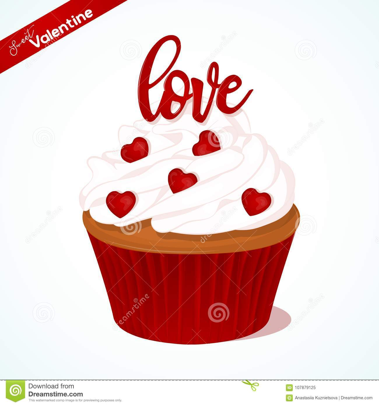 Cupcake With Vanilla Cream And Red Sugar Lettering For